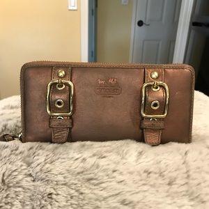 Copper Leather Coach Wallet
